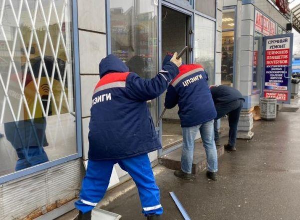 В Выборгском районе завершили демонтаж незаконных торговых павильонов